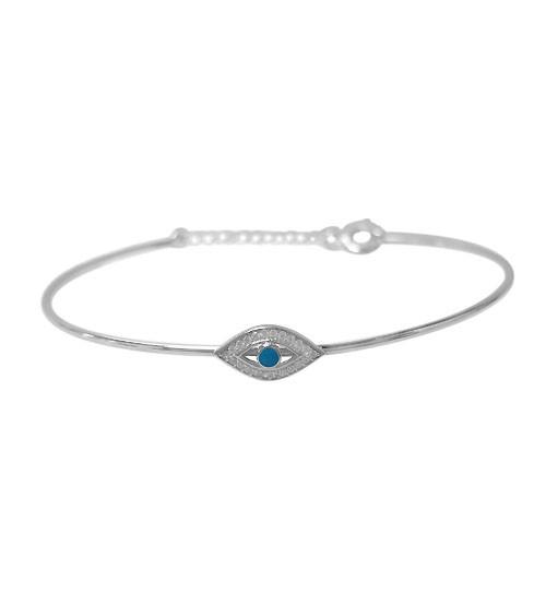 Evil Eye Cubic Zirconia Bracelet, Sterling Silver