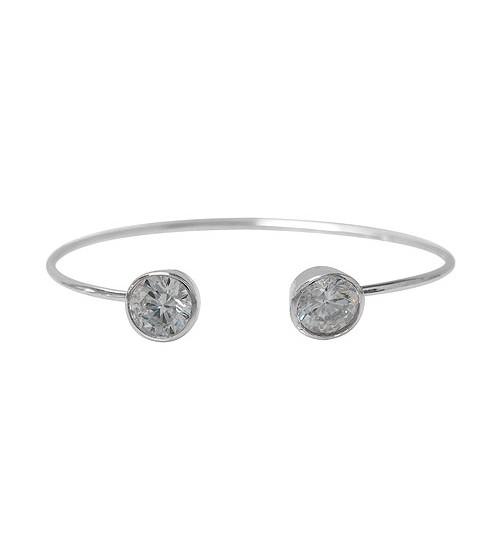 Cubic Zirconia Open Wire Bracelet, Sterling SIlver