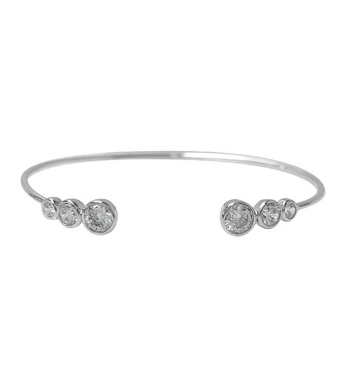Graduated Cubic Zirconia Cuff Bracelet, Sterling Silver