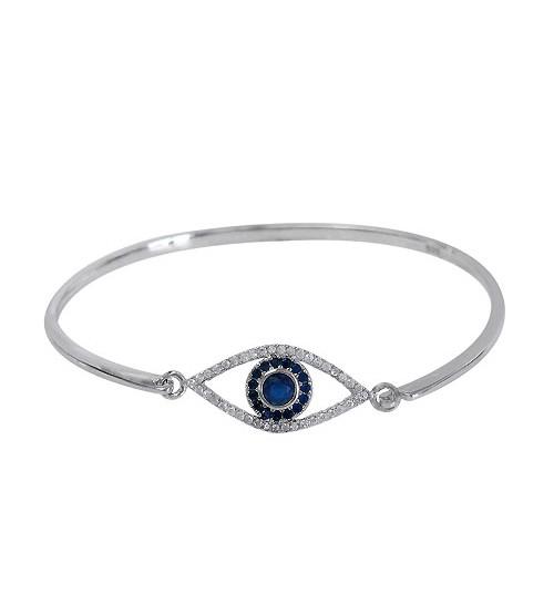 Cubic Zirconia Evil Eye Charm Bracelet Cuff, Sterling Silver