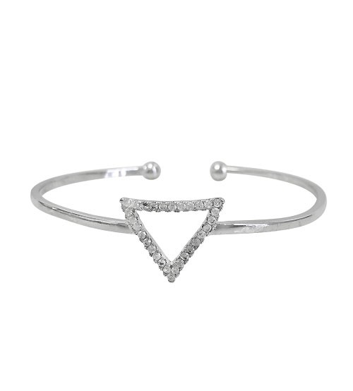 Triangular Charm Cubic Zirconia Bracelet Cuff, Sterling Silver