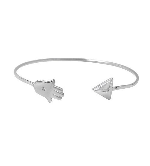 Arrowhead & Hamsa Cubic Zirconia Wire Bracelet, Sterling Silver