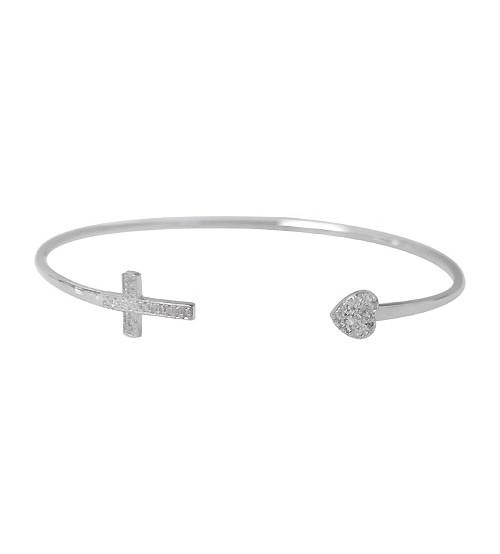 Cross & Heart Cubic Zirconia Wire Bracelet, Sterling Silver