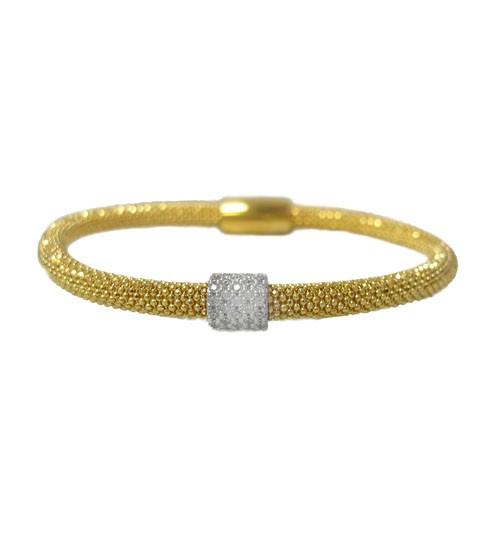 Diamond Cut Cubic Zirconia Mesh Bracelet, Sterling Silver