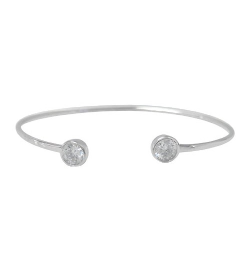 Round Cubic Zirconia Wire Bracelet, Sterling Silver