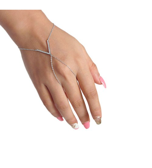 Cubic Zirconia Slave Bracelet, Sterling Silver
