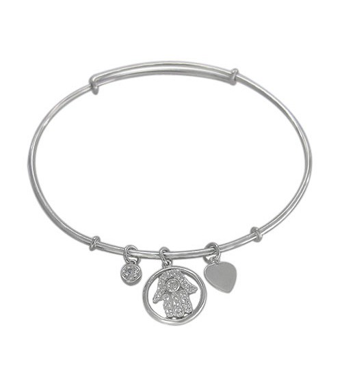 Cubic Zirconia Adjustable Hamsa Bracelet, Sterling Silver