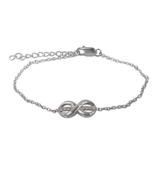 Infinity Cubic Zirconia Charm Bracelet, Sterling Silver
