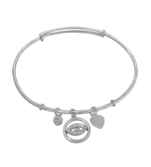 Cubic Zirconia Adjustable Evil Eye Bracelet, Sterling Silver