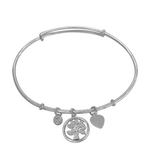 Cubic Zirconia Adjustable Tree Charm Bracelet, Sterling Silver