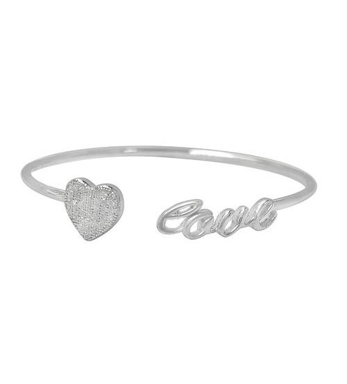 """Heart & """"Love"""" Cubic Zirconia Bracelet, Sterling Silver"""