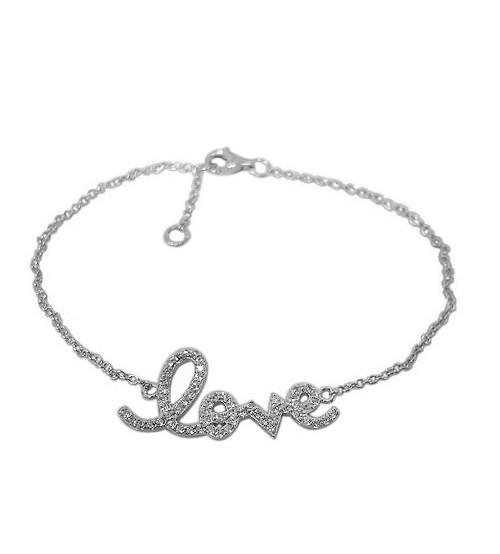 Cubic Zirconia Love Bracelet, Sterling Silver
