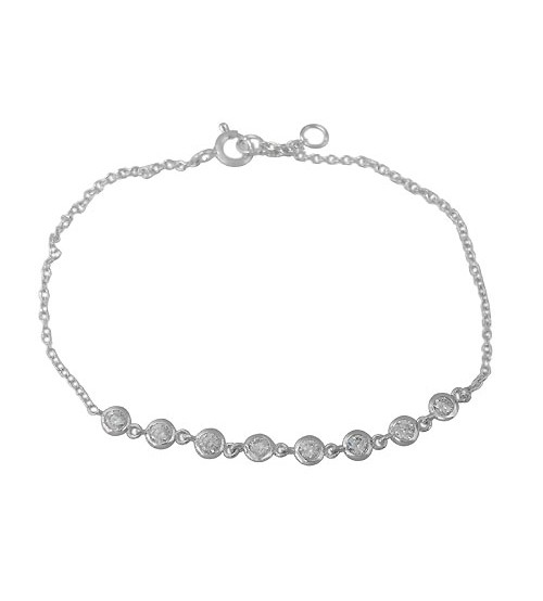 Multi Round Cubic Zirconia Bracelet, Sterling Silver