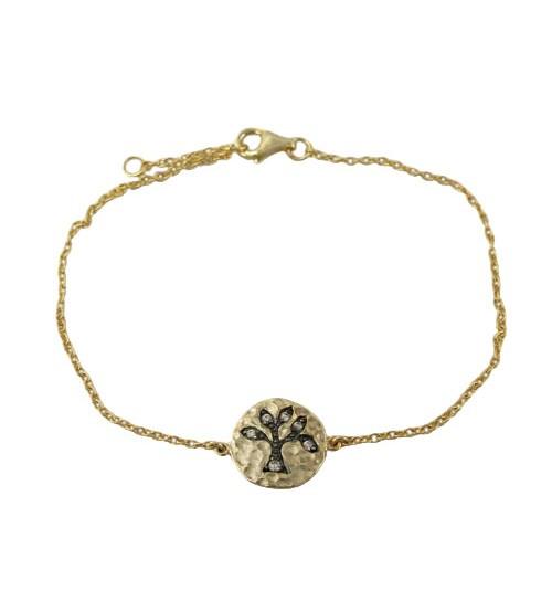 Cubic Zirconia Tree Charm Bracelet, Sterling Silver