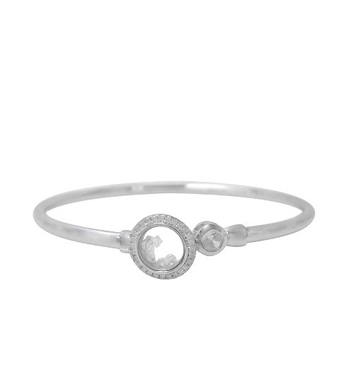 Cubic Zirconia Moving Glass Bracelet, Sterling Silver