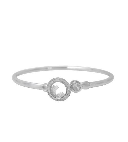 Cubic Zirconia Moving Glass Bracelet, Sterling Silver