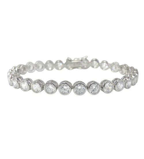Cubic Zirconia Tennis Bracelet, Sterling Silver