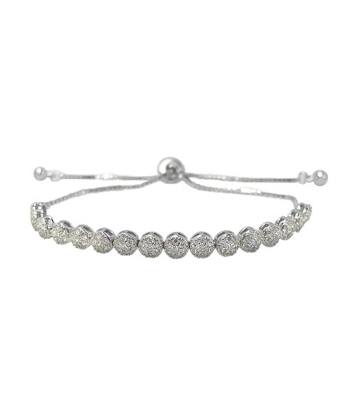 Faceted Cubic Zirconia Bracelet, Sterling Silver