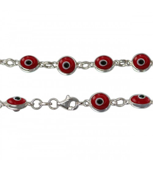 Red Evil Eye Bracelet, Sterling Silver