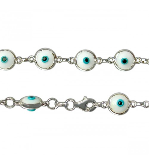 White Evil Eye Bracelet, Sterling Silver
