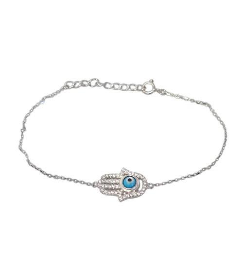 Hamsa Cubic Zirconia Bracelet, Sterling Silver