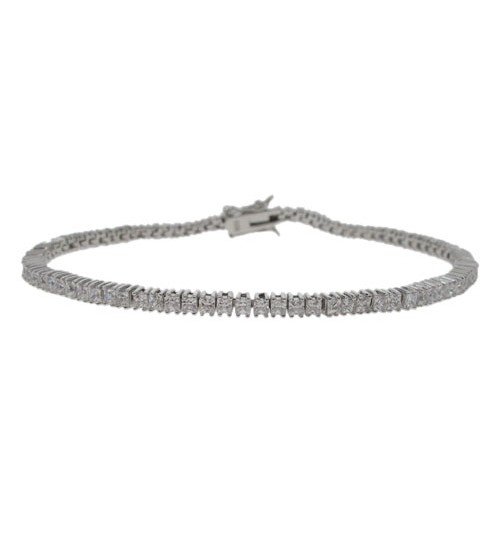 Square Cubic Zirconia Tennis Bracelet, Sterling Silver