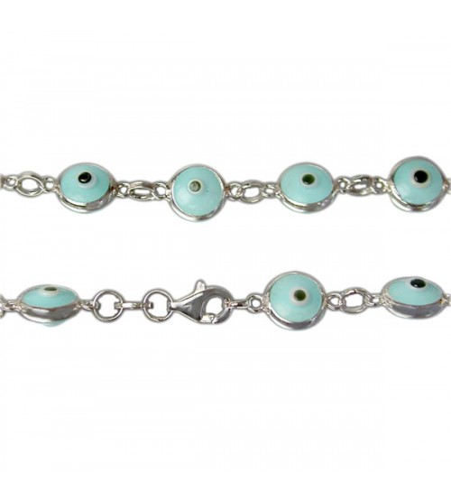 Blue Evil Eye Bracelet, Sterling Silver