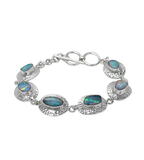 Free Form Australian Opal Bracelet, Sterling Silver