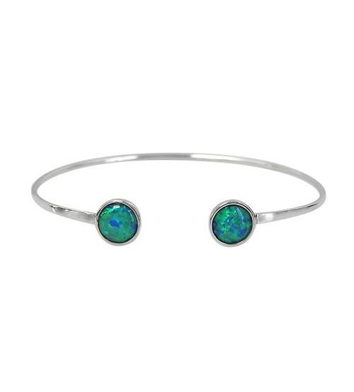 Flat Round Opal Bracelet Cuff, Sterling Silver