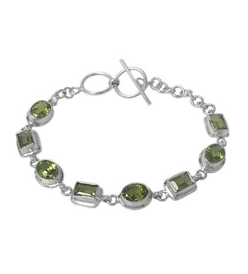 Oval & Rectangular Peridot Bracelet, Sterling Silver