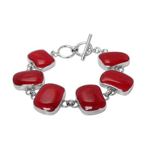 Free Form Sponge Coral Bracelet, Sterling Silver