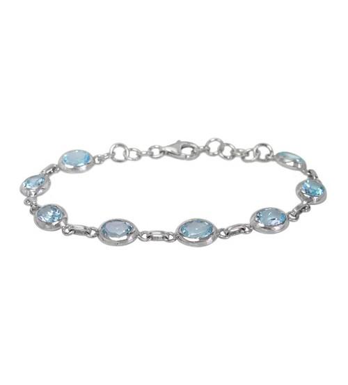 Oval Blue Topaz Bracelet, Sterling Silver