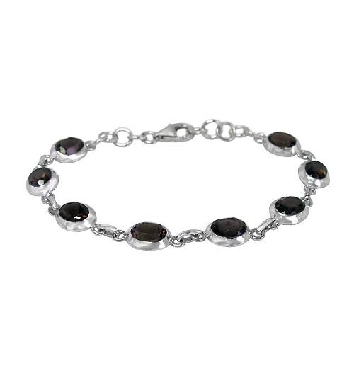 Oval Smoky Quartz Bracelet Sterling Silver