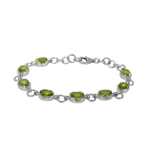 Oval Peridot Bracelet, Sterling Silver