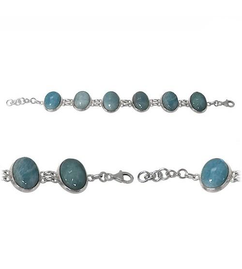 Oval Aquamarine Bracelet, Sterling Silver