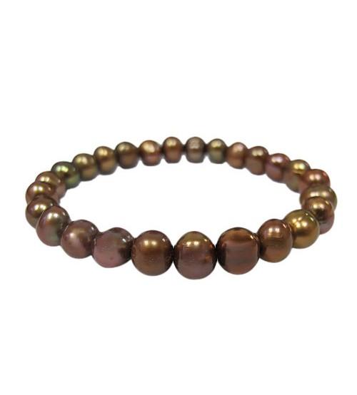 Dark Brown Pearl Elastic Bracelet