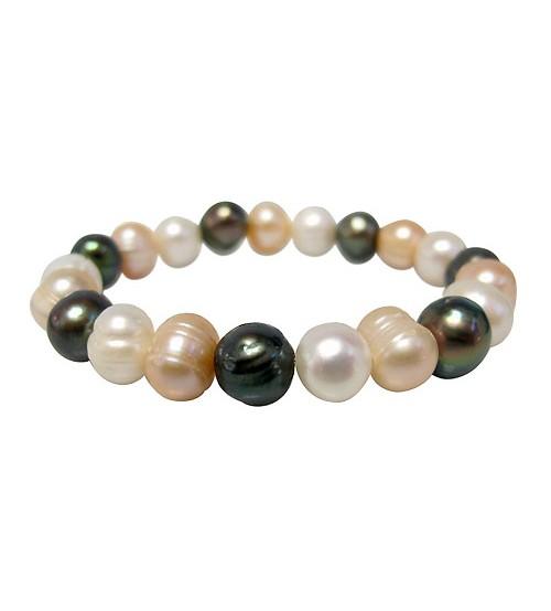 Multi Colour Pearl Elastic Bracelet