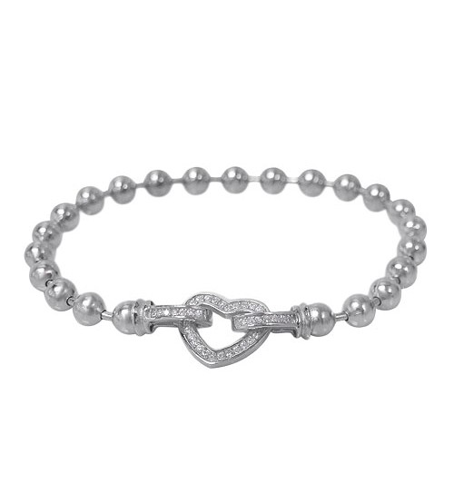 Round Bead Cubic Zirconia Heart Bracelet, Sterling Silver