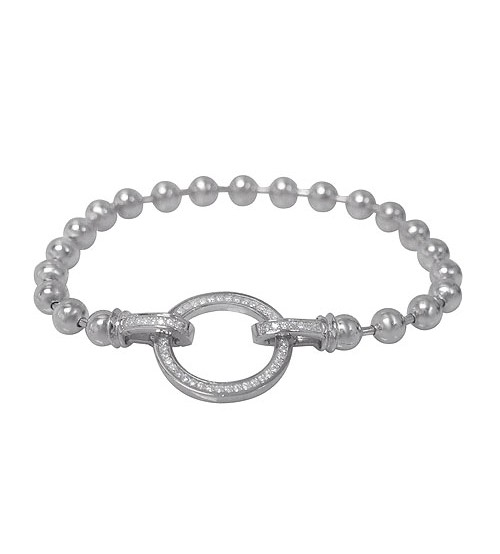 Round Bead Cubic Zirconia Bracelet, Sterling Silver