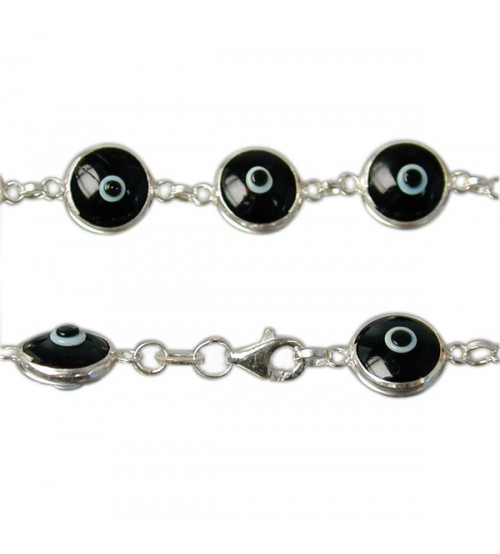 Black Evil Eye Bracelet, Sterling Silver