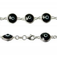 Black Evil Eye Bracelet, Sterling Silver