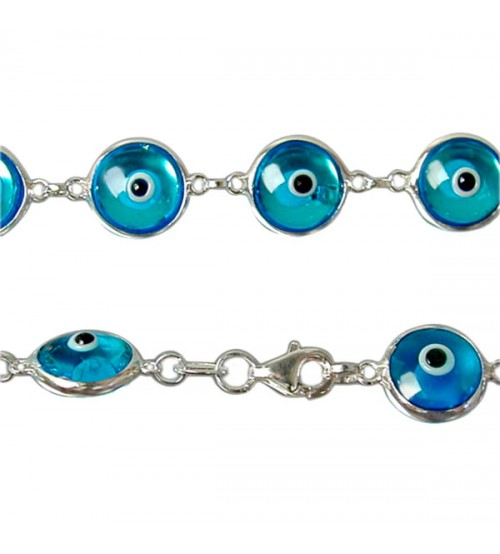 Blue Evil Eye Bracelet, Sterling Silver