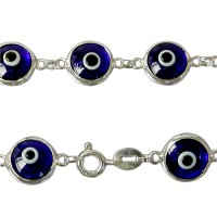 Dark Blue Evil Eye Bracelet, Sterling Silver