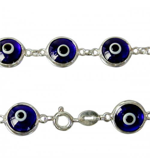 Dark Blue Evil Eye Bracelet, Sterling Silver