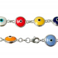 Mixed Colour Evil Eye Bracelet, Sterling Silver