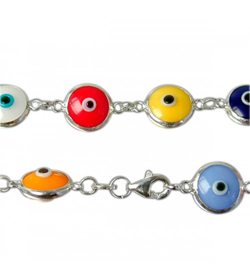 Mixed Colour Evil Eye Bracelet, Sterling Silver
