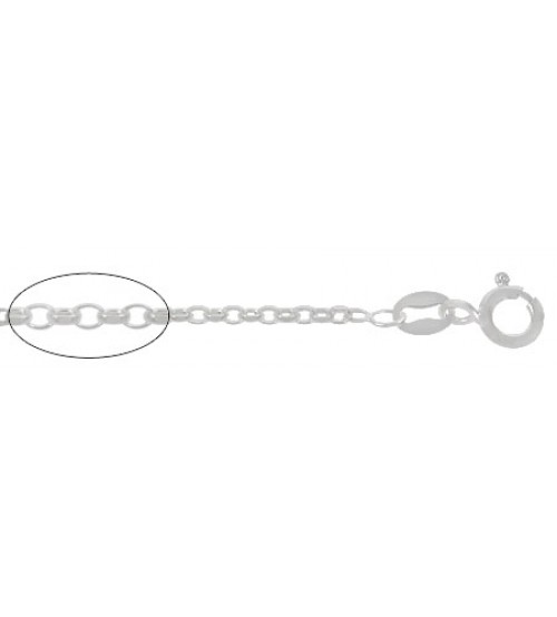 "2.5mm Diamond Cut Oval Link Chain, 16"" - 24"" Length, Sterling Silver"