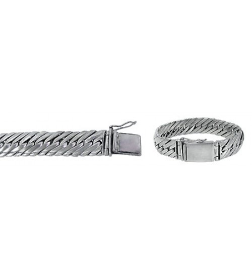 "18mm Miami Cuban Curb Link Chain Bracelet with Security Clasp, 8"" - 9"" Length, Sterling Silver"