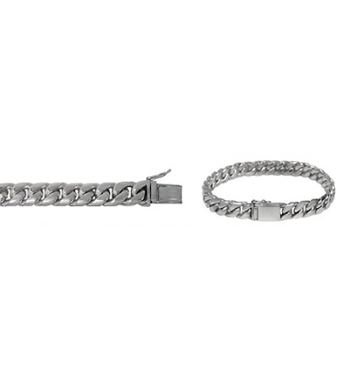 "13mm Miami Cuban Curb Link Chain Bracelet with Security Clasp, 8"" - 8.5"" Length, Sterling Silver"