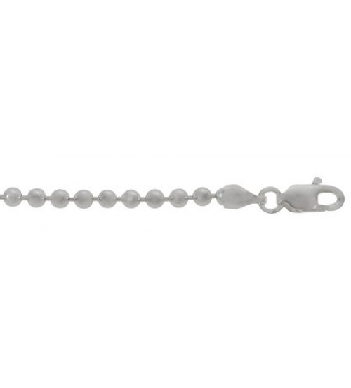 "2mm Beaded Chain, 16"" - 36"" Length, Sterling Silver"
